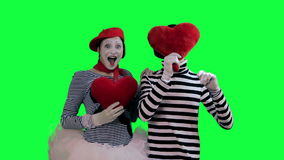 The couple of mimes in love stock video footage