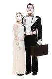 Couple mimes over white background Royalty Free Stock Photos