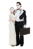 Couple mimes over white background Stock Image