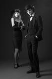 Couple of mimes. retro style Royalty Free Stock Photo