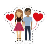 couple mixed race red hearts balloon Royalty Free Stock Images
