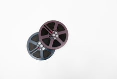 Couple of 8mm reels grey and purple isolated Royalty Free Stock Photos