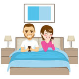 Couple Mobile Addiction Stock Images