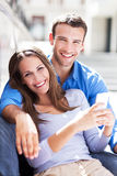 Couple with mobile phone Stock Photography