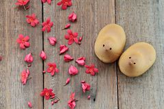 Couple mochi rice cakes chicken shaped and red flowers on wooden background Stock Photos