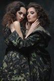 Couple of models in khaki uniform Royalty Free Stock Photo