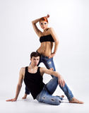Couple of modern ballet dancers in jeans Royalty Free Stock Photos