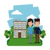 Couple modern house garden. Illustration eps 10 stock illustration