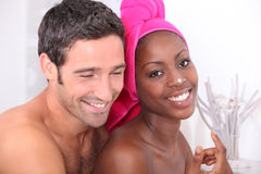 Couple moisturizing Royalty Free Stock Image