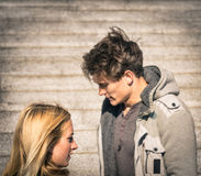 Couple in a moment of troubles during break up phase Royalty Free Stock Photography