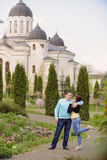 Couple in Monastery Yard Stock Image