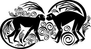 A couple monkeys. Isolated vector stylized image of a pair of monkeys Stock Photos
