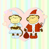 Couple of monkeys vector illustration Royalty Free Stock Images
