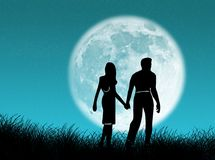 Couple in the moon Stock Photo
