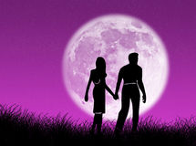 Couple in the moon Royalty Free Stock Photo