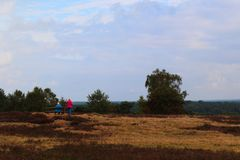 Couple in moorland taking a rest royalty free stock photos