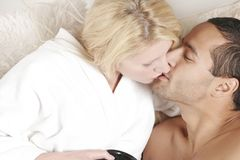 Couple Morning Kiss Royalty Free Stock Photography