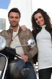 Couple on a motorcycle Royalty Free Stock Images