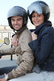 Couple on a motorcycle Stock Images