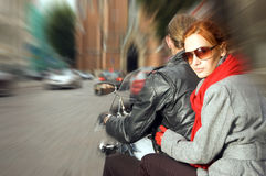 Couple on the motorcycle Stock Photos