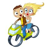 Couple on motorcycle Stock Photos