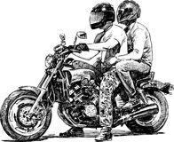 Couple on motorcycle Royalty Free Stock Images