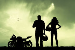 Couple of motorcyclist Stock Photography