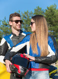 Couple of motorcyclists Royalty Free Stock Photos
