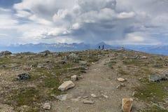 Couple on a Mountain Trail - Jasper National Park Stock Photos