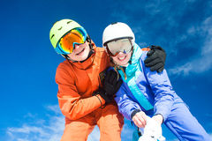A couple on mountain vacation. Dolomiti Superski, Royalty Free Stock Photo