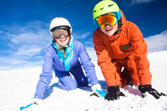A couple on mountain vacation. Dolomiti Superski, Royalty Free Stock Photography