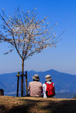 Couple on Mountain at Yoshino , Japan Royalty Free Stock Photos