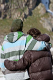 Couple in the mountains. During summer vacations. Caucasus, 2010 Royalty Free Stock Image