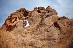 Couple in the mountains Stock Photos