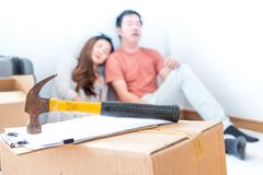 Couple move to new home. stock photography