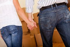 Couple moving Royalty Free Stock Photo