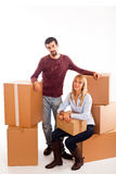 Couple on Moving Stock Photo