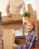 Couple moving Royalty Free Stock Image