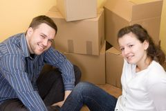 Couple moving in Royalty Free Stock Photo