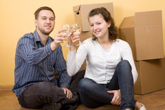 Couple moving in Royalty Free Stock Image