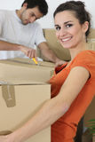 Couple moving in an apartment royalty free stock images