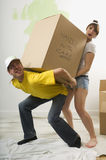 A couple moving a box together Royalty Free Stock Image