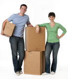 Couple with Moving Boxes Royalty Free Stock Photos