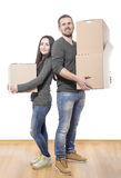 Couple with moving boxes Royalty Free Stock Photo
