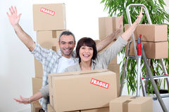 Couple on moving day royalty free stock photo