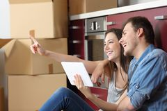 Couple moving home planning reform royalty free stock photography