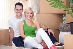 Couple moving house relaxing Stock Photo