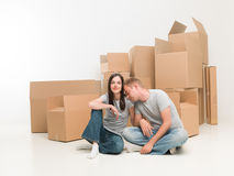 Couple moving in house Stock Photos