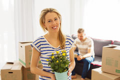 Couple moving in new apartment Stock Photo