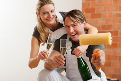 Couple moving in new apartment renovating Stock Photo
